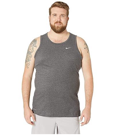 Nike Big Tall Dry Tank Top Dri-Fit Cotton Solid (Black Heather/Matte Silver) Men