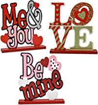 Gift Boutique Valentines Day Decorations Set of 3 Table Toppers; Love, Me & You, and Be Mine Wooden Centerpiece Signs Home Decor