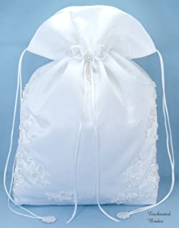 Satin Bridal Wedding Money Bag (#E1D4MBwh) in Large Size with Pearl-Embellished Floral Lace for Receiving Envelops, Dollar Dance, Bridal Purse, and Other Special Occasions