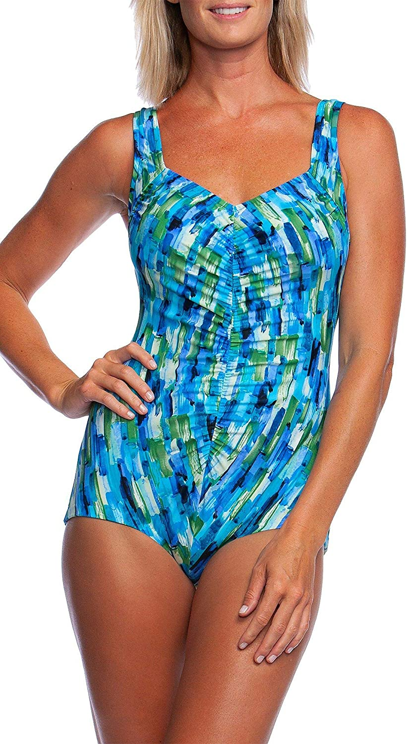 Maxine Of Hollywood Women's Shirred Front Girl Leg One Piece Swimsuit,