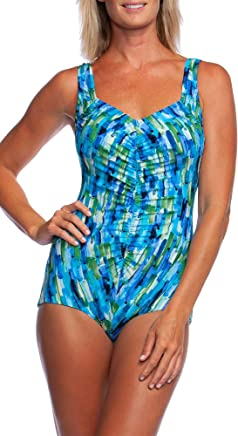 dea85a7ae1 Maxine Of Hollywood Women s Shirred Front Girl Leg One Piece Swimsuit