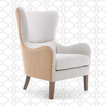 Elle Decor Wingback Upholstered Accent Chair Farmhouse Armchair For Living Room Two Toned Beige Furniture Decor