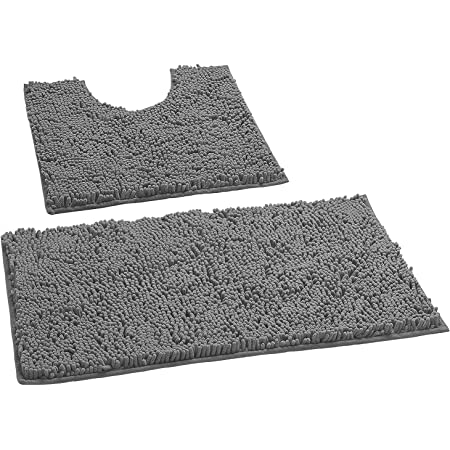 Amazon Com Luxurux Bathroom Rugs Luxury Chenille 2 Piece Bath Mat Set Soft Plush Anti Slip Bath Rugs U Shape Contoured Mat 1 Microfiber Shaggy Carpet Super Absorbent Dark Gray Kitchen Dining
