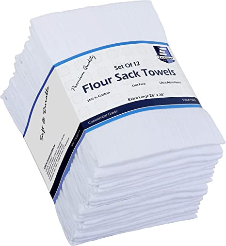 Amazon Com Flour Sack Kitchen Towels White 12 Pack 100 Cotton 28x28 Inch Cloth Napkin Bread Wrapper Cheesecloth Multi Purpose Kitchen Dish Towels Bar Towels Extremely Absorbent Sturdy By Excellent Deals Home Kitchen