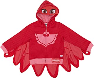 PJ Masks Girls' Toddler Owlette Zip Up Hoodie with Mesh Mask and Detachable Cape