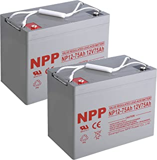 NPP NP12-75Ah Rechargeable 12V 75 Ah Sealed Lead Acid Battery with Button Style Terminals (2 pcs)
