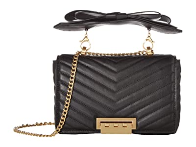 ZAC Zac Posen Soft Earthette Medium Chain Shoulder Bow Solid (Black) Handbags