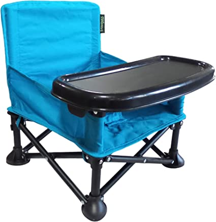 Samana's Goods Portable Baby Booster Seat,  Folding Baby Chair with Tray and Carrying Bag for Indoor or Outdoor Feeding Time or Playtime by (Blue)