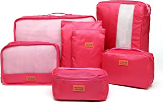 Kroeus 7set Packing Cubes Travel Luggage Organizer Compression Pouches Rose Red