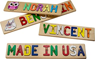 South Bend Woodworks Whimsical Character Wooden Name Peg Puzzle - Up to 9 Characters (Including Spaces)
