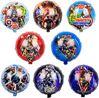 BATTER 8 pcs Super hero Party Balloons,Super hero Party Supplies, Kids Baby Shower Birthday Party Decorations