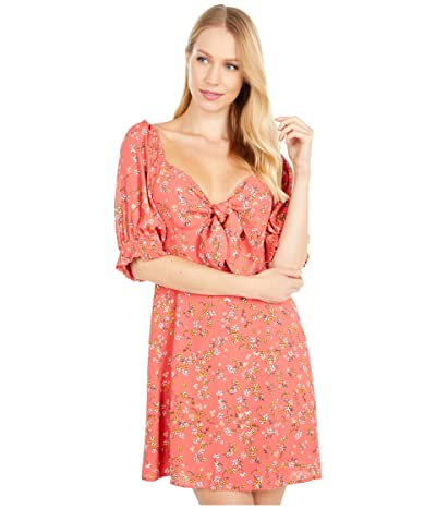 LOST + WANDER Everyday Adventures Short Sleeve Mini Dress (Red/Orange Coral Floral Multi) Women