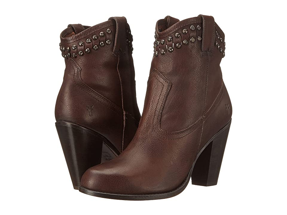Frye Jenny Cut Stud Short (Dark Brown Washed Vintage) Cowboy Boots