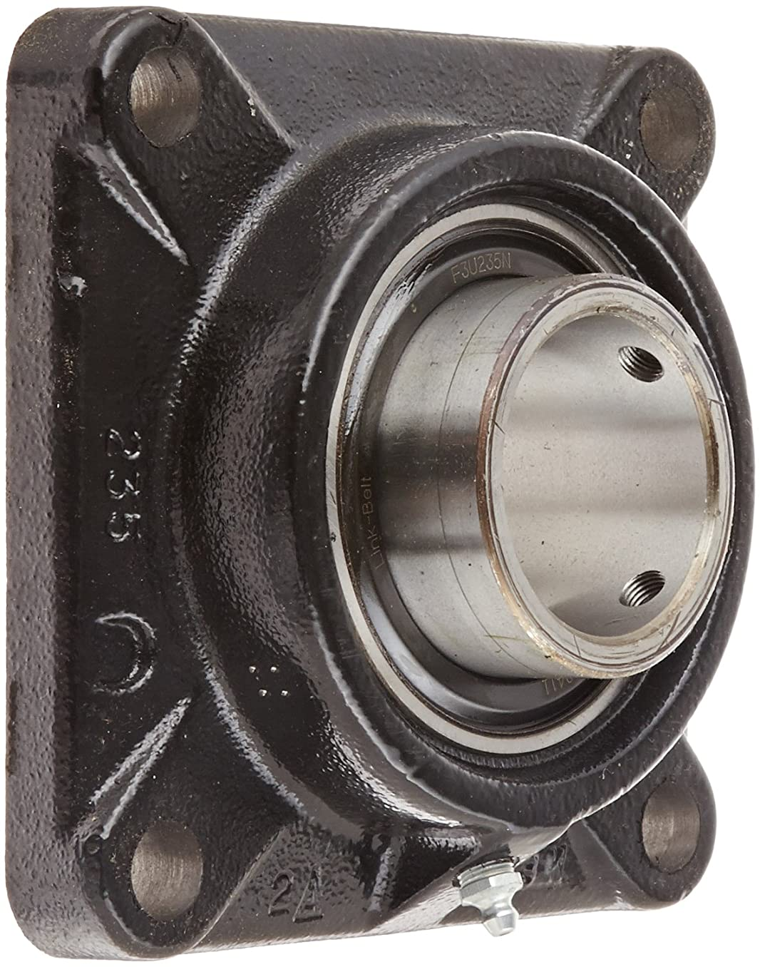 Link-Belt F3U235N Ball Bearing Flange Unit, 4 Bolt Holes, Standard-Duty, Relubricatable, Non-Expansion, Cast Iron, Spring Locking Collar, Inch, 2-3/16