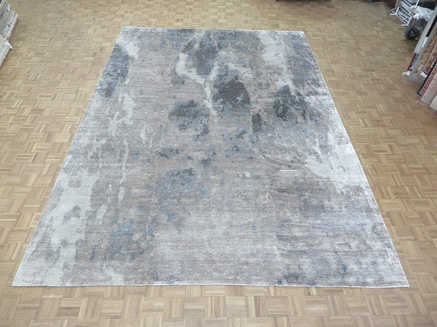 Don't miss the campaign 10'2 X 14'3 Hand Knotted Gray New Free Shipping Rug With Abstract Oriental Modern