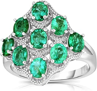 Femme Luxe Iris Natural Zambian Emerald Statement Ring for Women, 925 Sterling Silver, Hypoallergenic, Gift Ready Jewelry