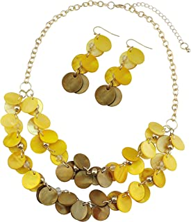 Bocar 2 Layer Statement Choker Shell Necklace and Earring Set for Women Gift