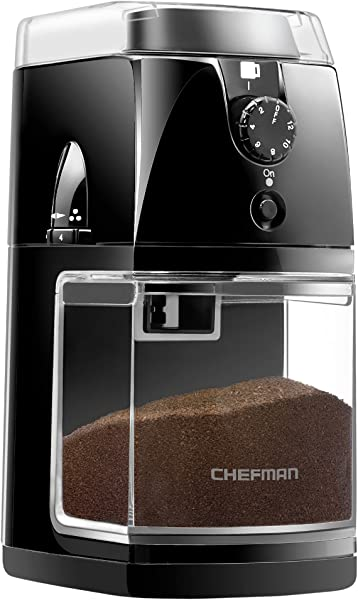 Chefman Coffee Grinder Electric Burr Mill Freshly 8oz Beans Large Hopper 17 Grinding Options For 2 12 Cups Easy One Touch Operation Cleaning Brush Included Black