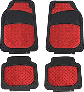 FH Group F11315RED Red Floor Weather Rubber Mats for Cars, Trucks, and SUVs, Universal Trim to Fit Design