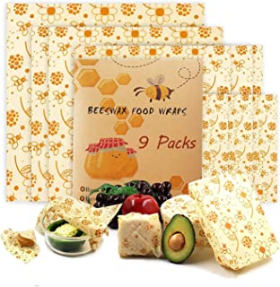 Beeswax Reusable Food Wraps 9 Pack of Sandwich Wrap Eco Friendly Bees Wrap Bowl Covers Sustainable Bees Wax Plastic Wrap f...