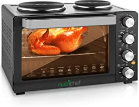 NutriChef Kitchen Convection Electric Countertop Rotisserie Toaster Oven Cooker with Food Warming Hot Plates, 30+ Quart (AZPKRTO28), 15.9 x 19.6 x 13.5 inches, Black