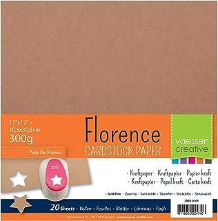 Vaessen Creative Papier Cartonné Florence Kraft, 20 Feuilles, 30,5 x 30,5 cm, 300 GSM, Parfait pour Le Scrapbooking, Créat...