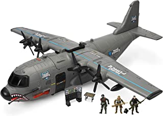 Hero Force Shark Cargo Plane   Includes 3 Action Figures   Real Working Lights, Sounds, & Doors   Fun Toy for Kids
