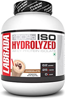 Labrada 100% ISO HYDROLYZED Whey Protein Isolate (25g Protein, 0g Sugar, 0 Fat, 62 Servings) – 4.4 lbs (2kg) (Chocolate)