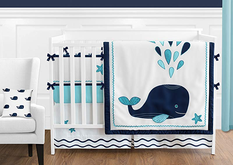 Sweet Jojo Designs 9 Piece Turquoise Navy Blue And White Whale Nautical Ocean Baby Boys Or Girls Crib Bedding Set With Bumper