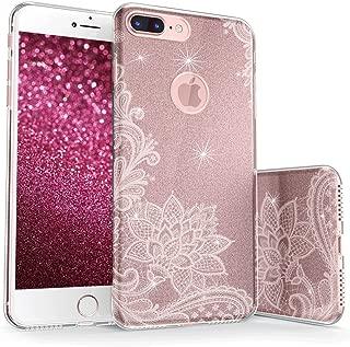 真正的彩色手机壳可与 iPhone 7 Plus 闪光手机壳,闪亮复古蕾丝印花三层混合女孩手机壳带防震 TPU 外壳 - 白色玫瑰金