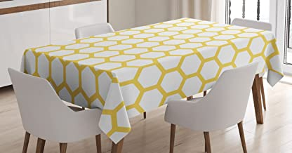 Ambesonne Yellow and White Tablecloth, Hexagonal Pattern Honeycomb Beehive Simplistic Geometrical Monochrome, Dining Room Kitchen Rectangular Table Cover, 52