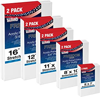 US Art Supply Multi-Pack 2-Ea of 5x7, 8x10, 11x14, 12x16, 16x20. Professional Quality Medium 12oz Primed Gesso Artist Stretched Canvas