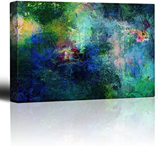 wall26 Soothing and Vibrant Blue and Green Splotches of Paint - Giclee Print Abstract Canvas Wall Art Rustic Home Decor - 24x36 inches
