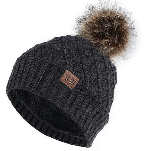 9a52a0ee1fa Vmevo Women s Warm Faux Fur Pom Pom Beanie Hat Soft Cable Knit Winter  Fleece Lined Skull
