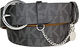 Michael Kors Black Belt with Round Silver Buckle MK Logo Chain MK Tag Size Small