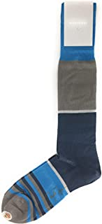 VK Nagrani Men's Dress Socks Over The Calf STRIPES L326 GRAY