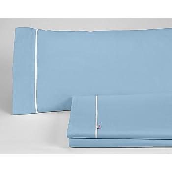 ESTELIA - Juego de sábanas Liso Color Azul Celeste - Cama de 150 (3 Piezas) - 100% algodón - 144 Hilos: Amazon.es: Hogar
