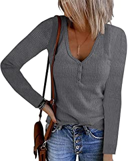 Womens Long Sleeve V Neck Button Casual Tops Ribbed Solid...