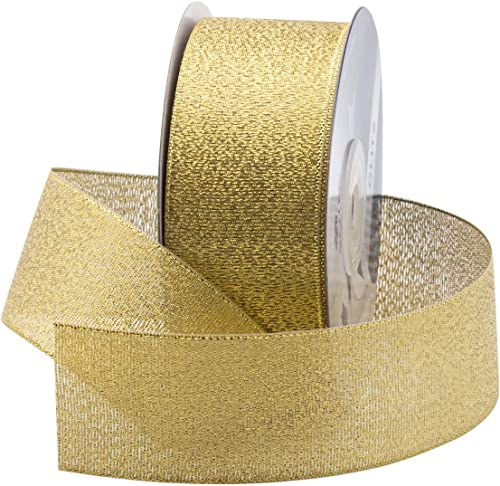 discount Royal Imports Metallic Sparkly Glitter Fabric Ribbon Roll for high quality Christmas, Craft, Floral, Wedding, Sewing, Bow Making, Gift Wrapping, 25 Yards Spool, 1-1/2 new arrival Inch (#9), Gold online