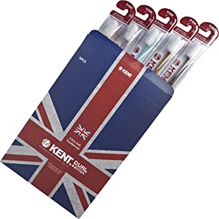 [KENT] Finest Soft Toothbrush Pack of 5 Crystal - Micro Thin Bristles, Anti-bacterial, BPA Free for Sensitive Gums and Teeth