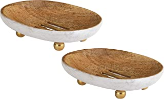 Folkulture Soap Dish Soap Bar Holders for Bathroom, Soap Saver with Anti-Slip Design, Set of 2 Soap Tray Dishes for Showe...