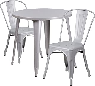 Flash Furniture 30'' Round Silver Metal Indoor-Outdoor Table Set with 2 Cafe Chairs