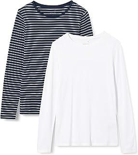 MERAKI T-Shirt Girocollo a Manica Lunga Donna, Pacco da 2