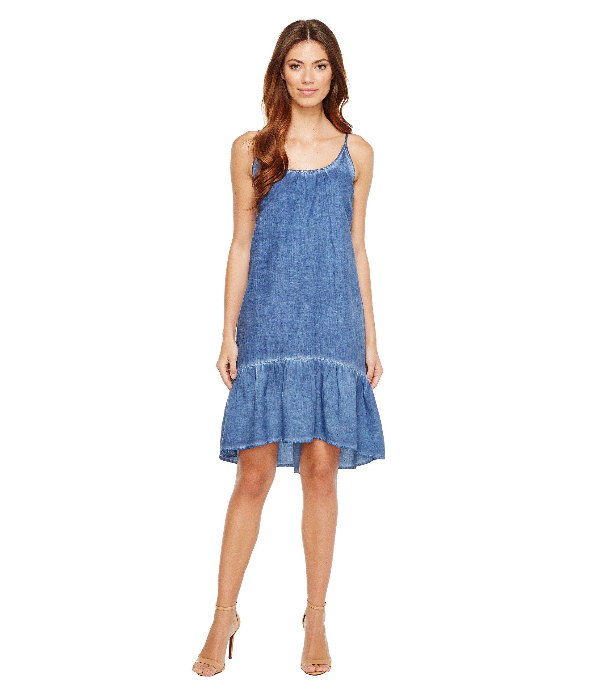 Peplum-Hem Linen-Cotton Dress, River