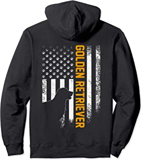 Vintage USA Golden Retriever Silhouette American Flag Funny Pullover Hoodie