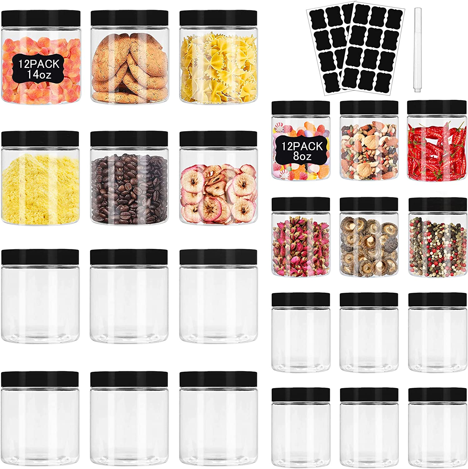 Plastic Jars with Lids 8 oz(12Pcs) & 14 oz(12Pcs) Clear Plastic Slime Storage Jars Containers with Airtight Leak Proof Black Plastic Screw On Lids Cylinder Clear Round Jars Easy Clean Food Grade Durable PET Material