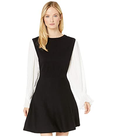 CeCe Long Sleeve Sweater Dress with Pleated Sleeves (Rich Black) Women