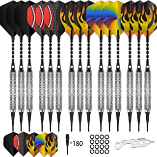 CyeeLife 15 Packs Soft tip Darts Set 18g,100 Extra Tips+Dart Tool+15 Aluminium shafts+20..