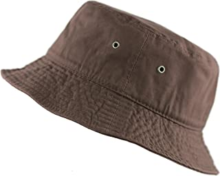 300N Unisex 100% Cotton Packable Summer Travel Bucket Beach Sun Hat