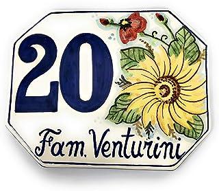 CERAMICHE D'ARTE PARRINI- Ceramica italiana artistica numero civico in ceramica 15x12 personalizzato decorazione girasole ...